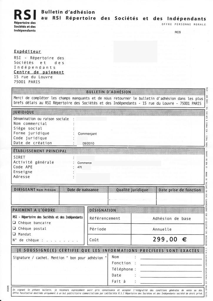 faux courrier RSI
