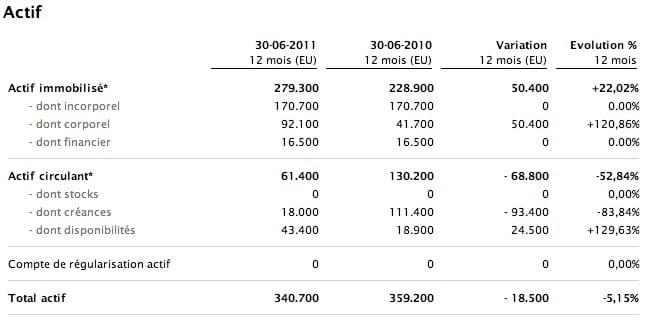 bilan comptable exemple actif