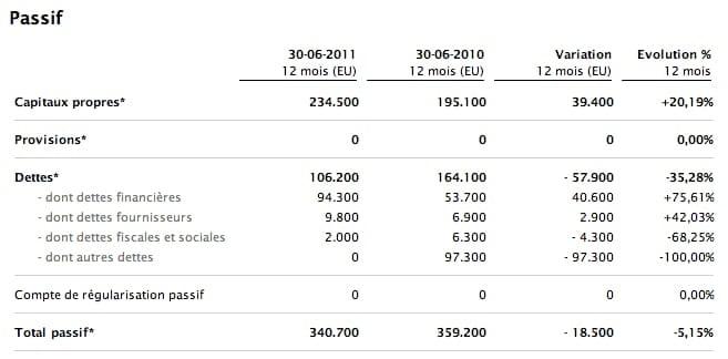 bilan comptable exemple passif