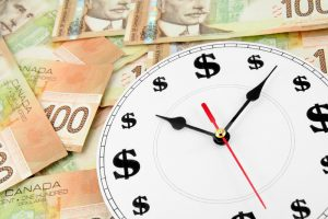 clock and canadian dollars, concept of time is money