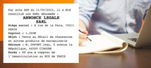 annonce legale SARL exemple